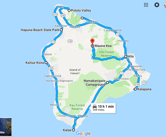 Hawaii Hitchhiking Travel Map